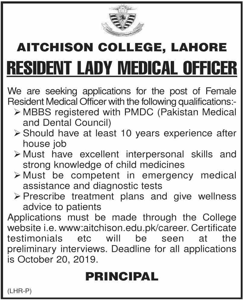 Aitchison College Lahore Jobs 2019