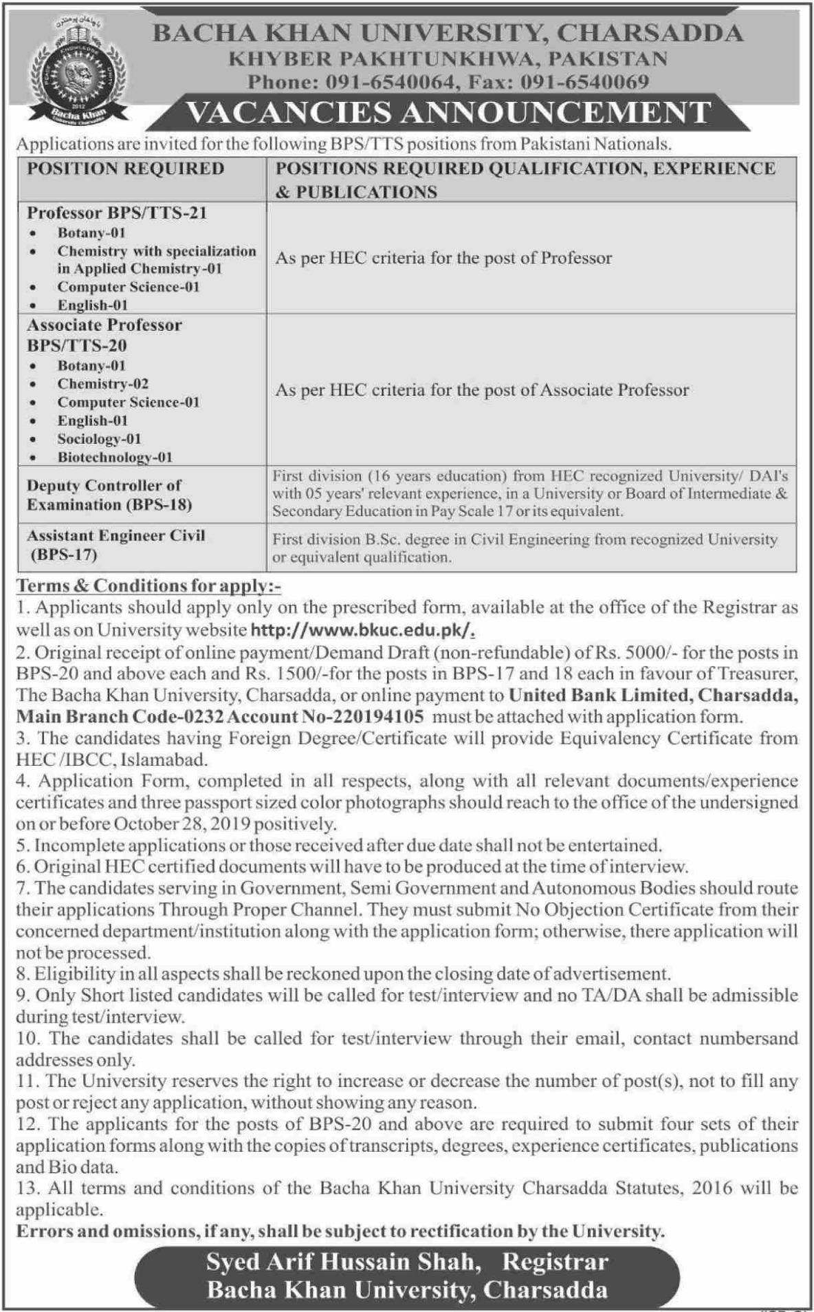 BKUC Jobs 2019 Bacha Khan University Charsadda