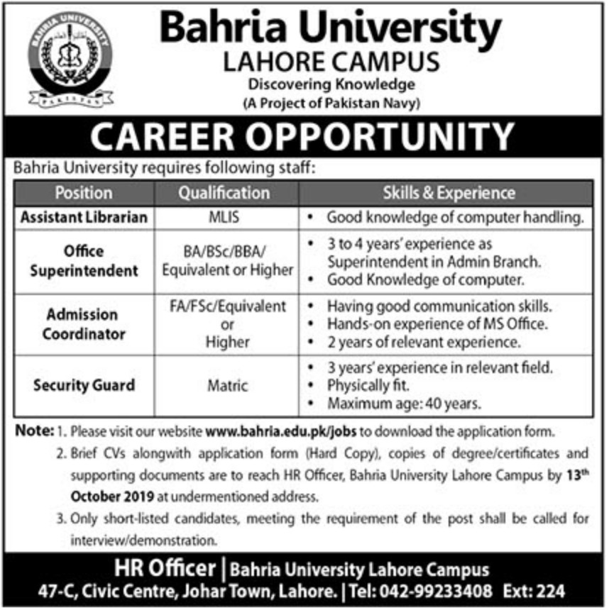 Bahria University Jobs 2019 Lahore Campus