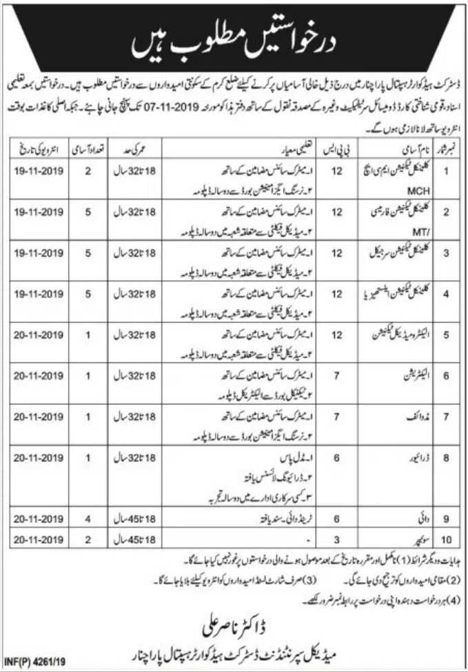 DHQ Hospital Parachinar Jobs 2019 KPK
