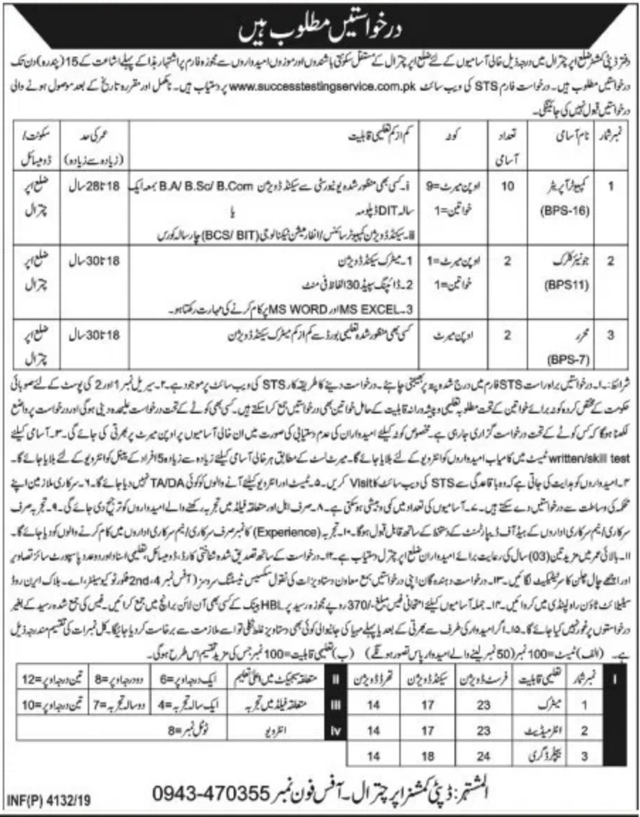 Deputy Commissioner Office Chitral Jobs 2019 KPKDeputy Commissioner Office Chitral Jobs 2019 KPK