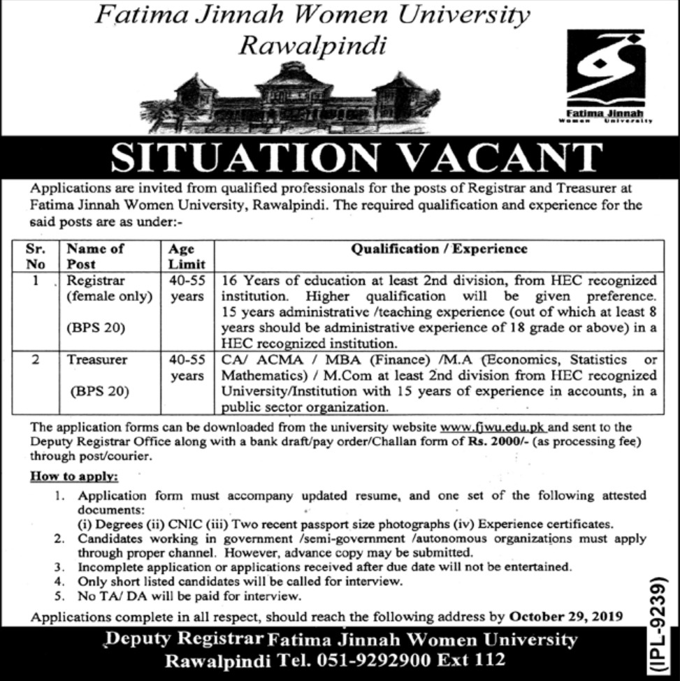 Fatima Jinnah Women University FJMU Rawalpindi Jobs 2019