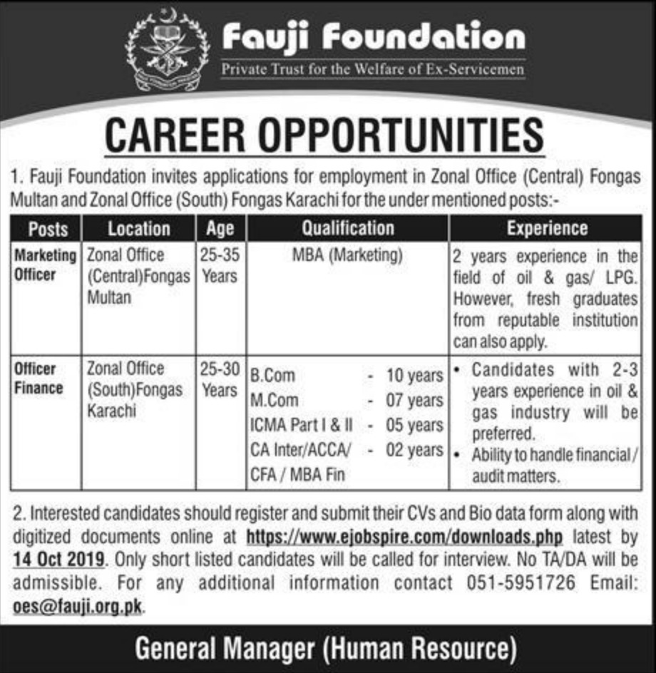 Fauji Foundation Jobs 2019 Zonal Offices