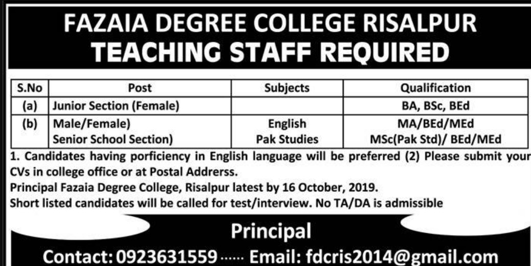 Fazaia Degree College Risalpur Jobs 2019 KPK