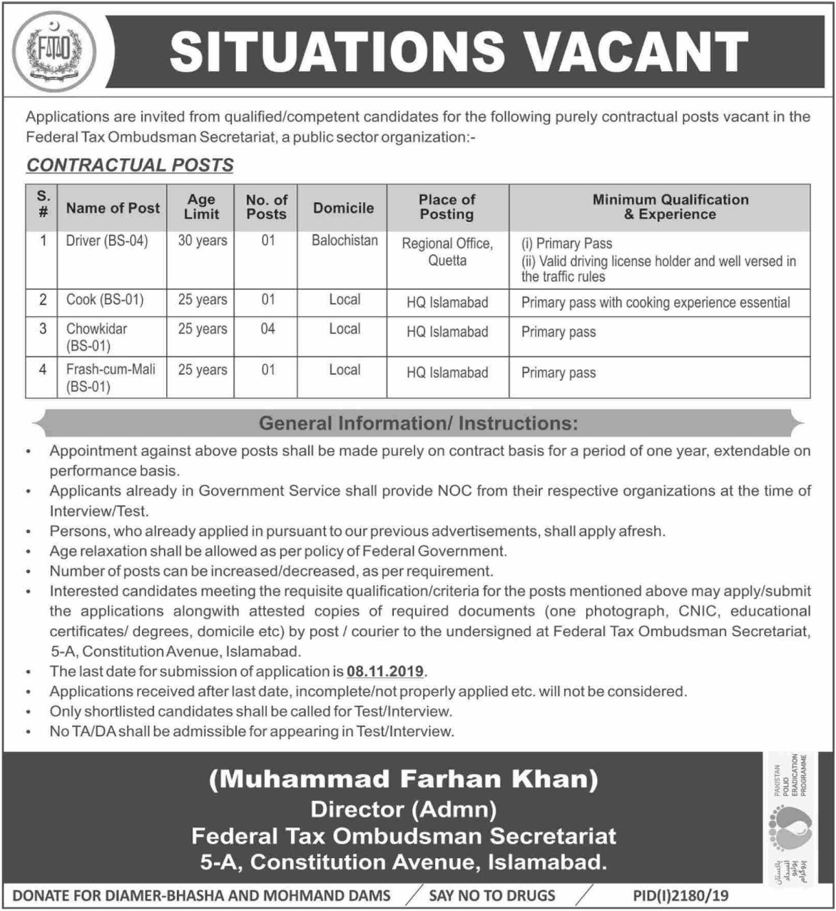 Federal Tax Ombudsman Secretariat Islamabad Jobs 2019