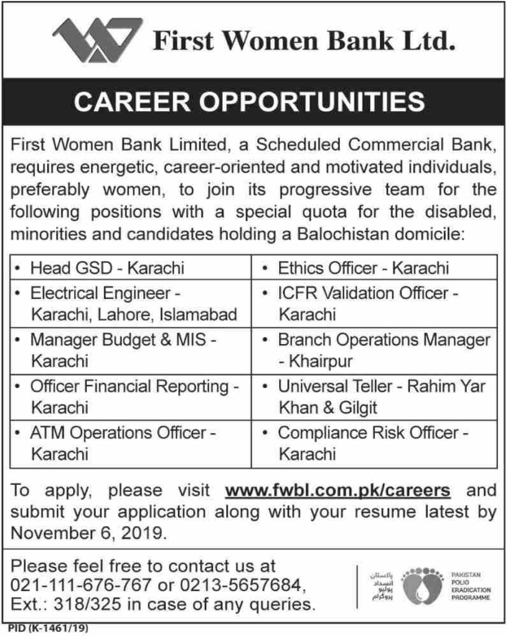 First Women Bank Limited Jobs 2019