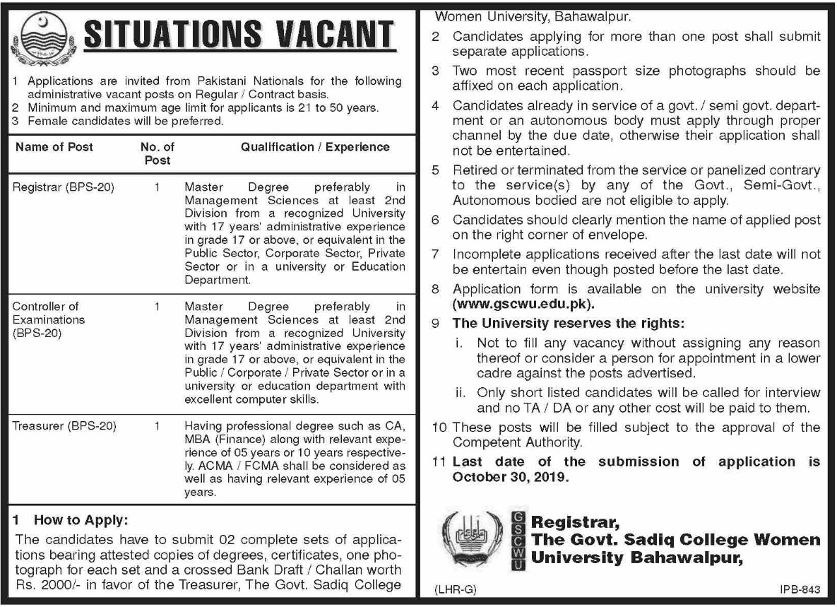 Govt. Sadiq College Women University Bahawalpur Jobs 2019