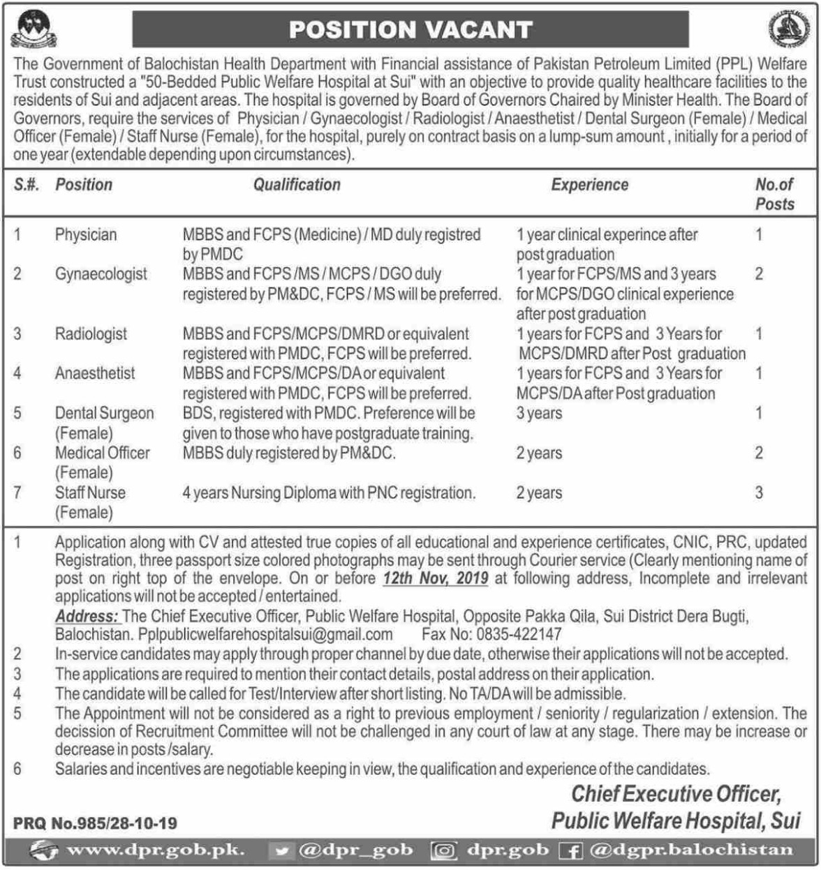 Health Department Government of Balochistan Jobs 2019
