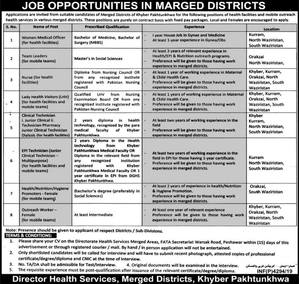 Health Department Khyber Pakhtunkhwa Jobs 2019