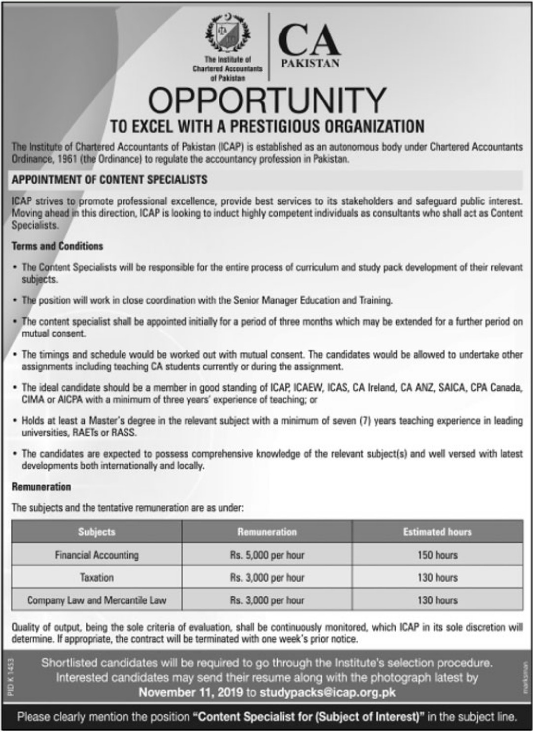 ICAP Jobs 2019 Institute of Chartered Accountants of Pakistan
