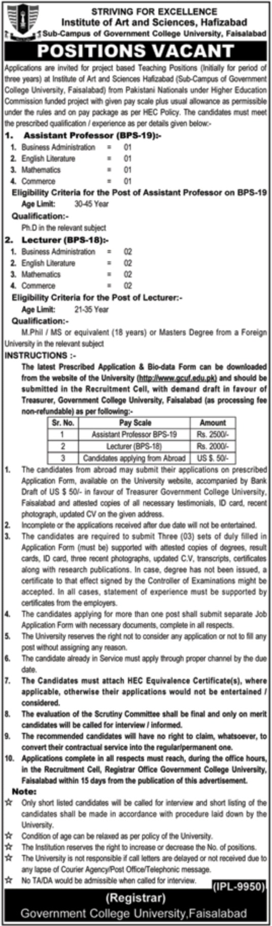 Institute of Art & Sciences Hafizabad Jobs 2019