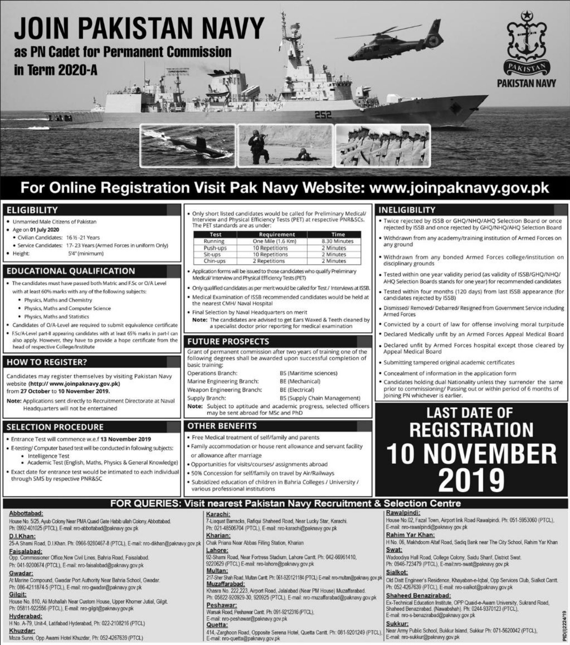 Join Pakistan Navy as PN Cadet for Permanent Commission 2020-A