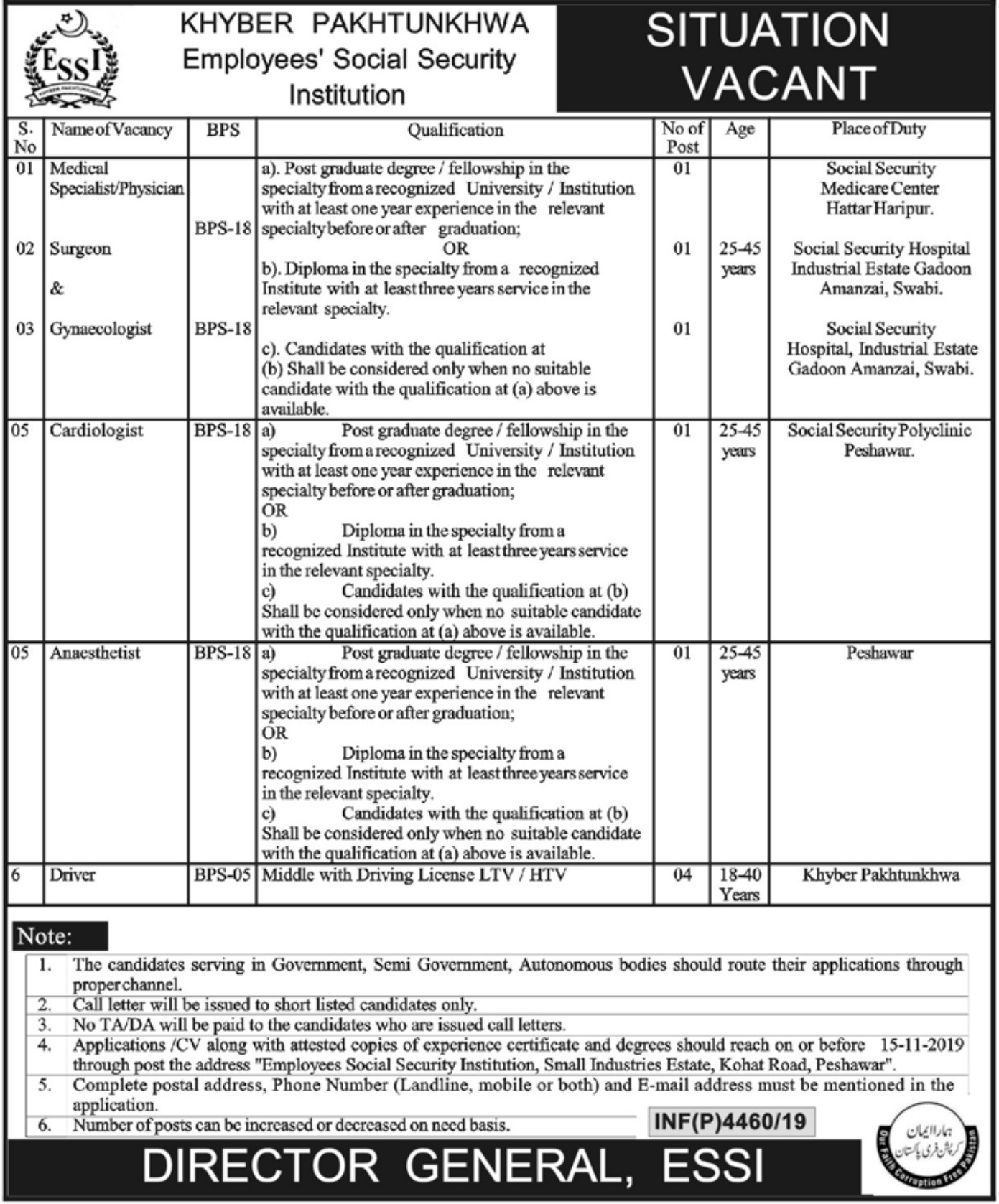 Khyber Pakhtunkhwa Employees Social Security Institution KPESSI Jobs 2019