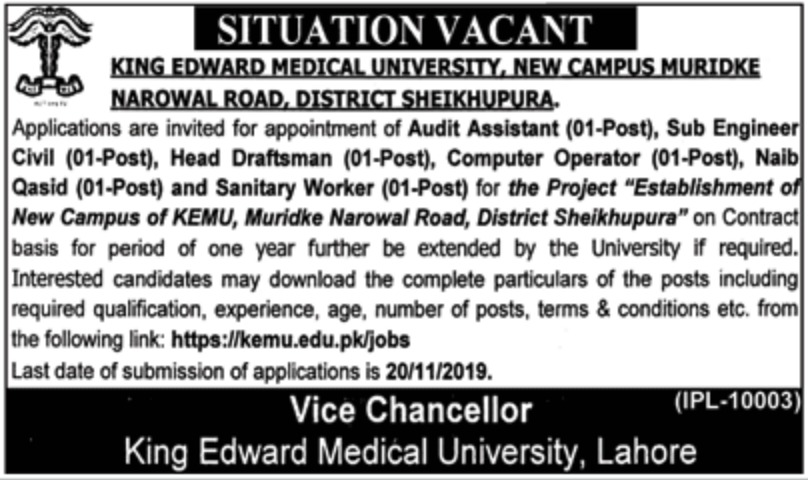 King Edward Medical University KEMU Muridke Sheikhupura Jobs 2019