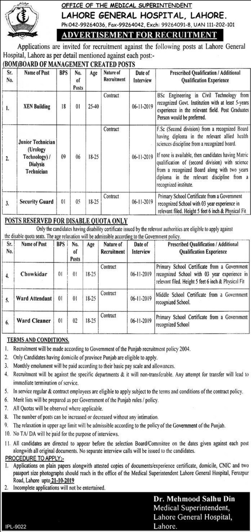 Lahore General Hospital LGH Jobs 2019