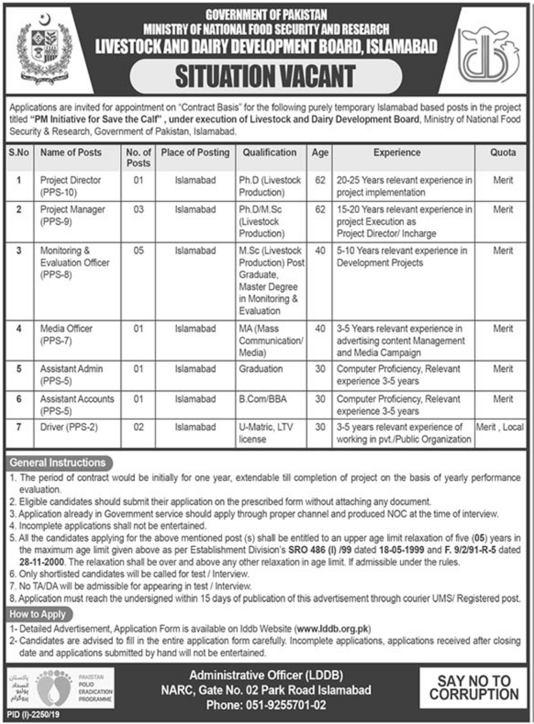 Livestock & Dairy Development Board Islamabad Jobs 2019