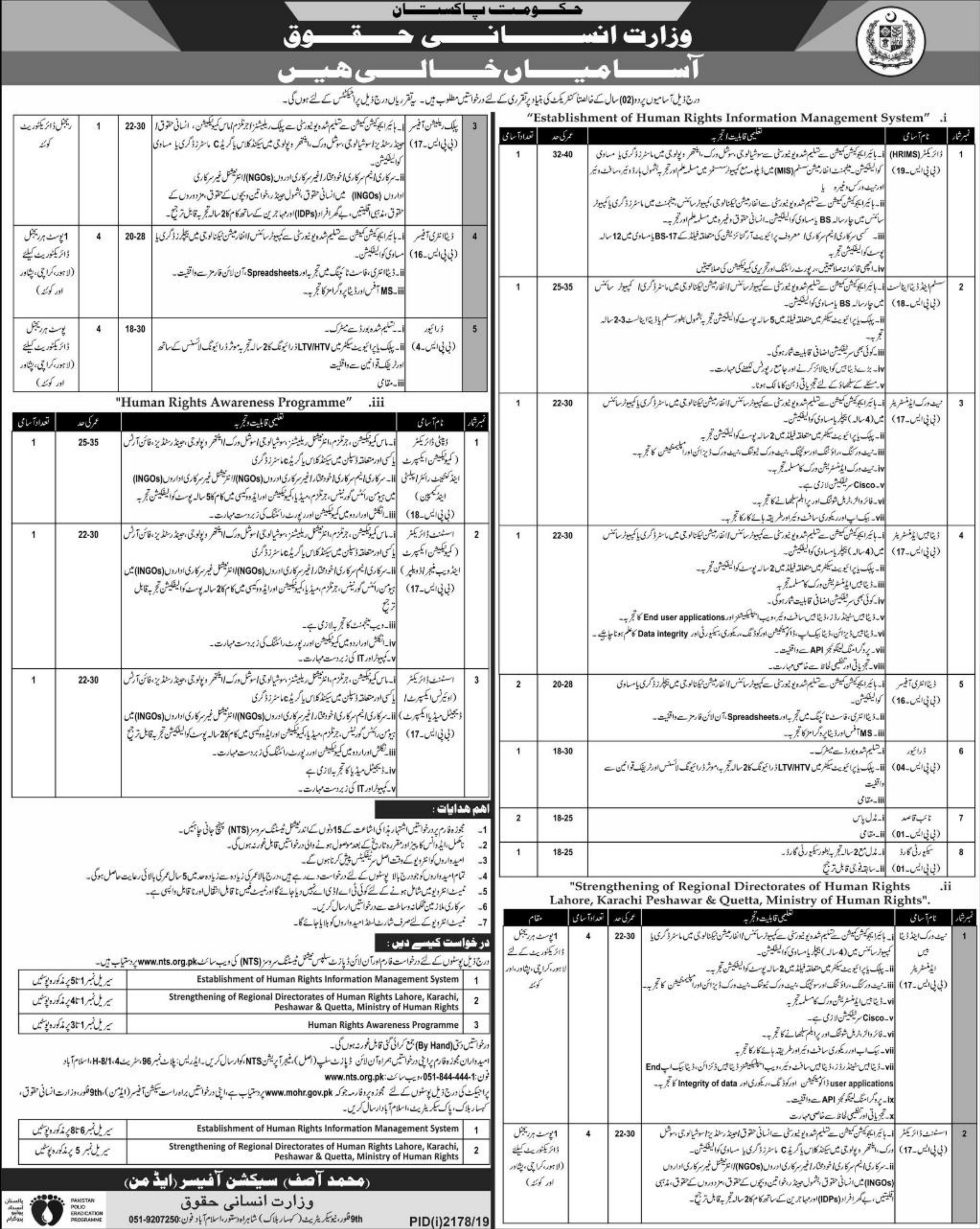 Ministry of Human Rights Jobs 2019 Apply through NTS