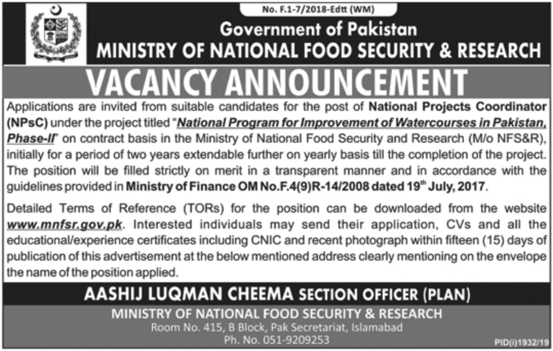 Ministry of National Food Security & Research Jobs 2019 Pakistan