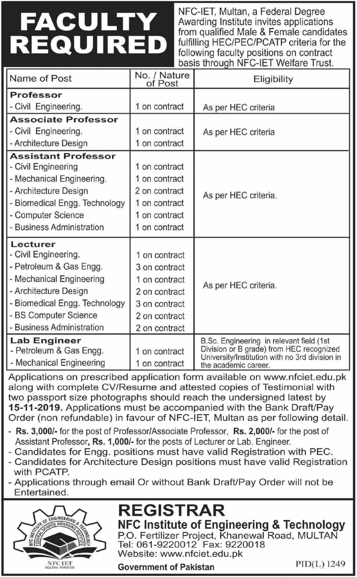 NFC Institute of Engineering & Technology Multan Jobs 2019