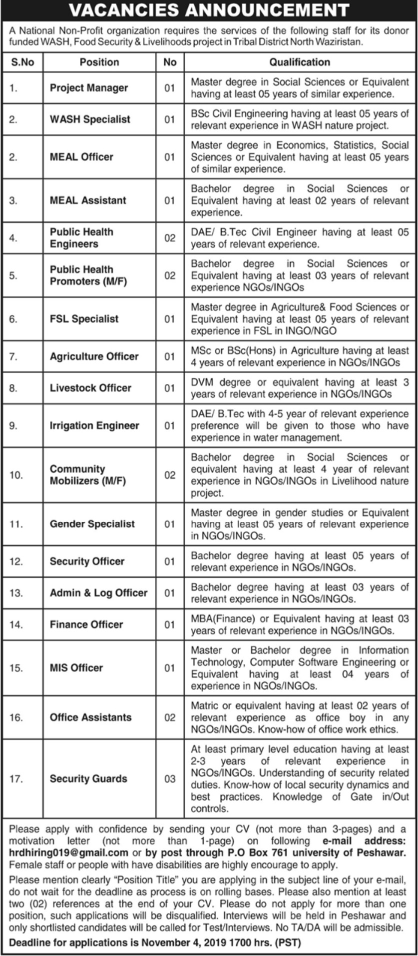 NGO Jobs 2019 North Waziristan KPK