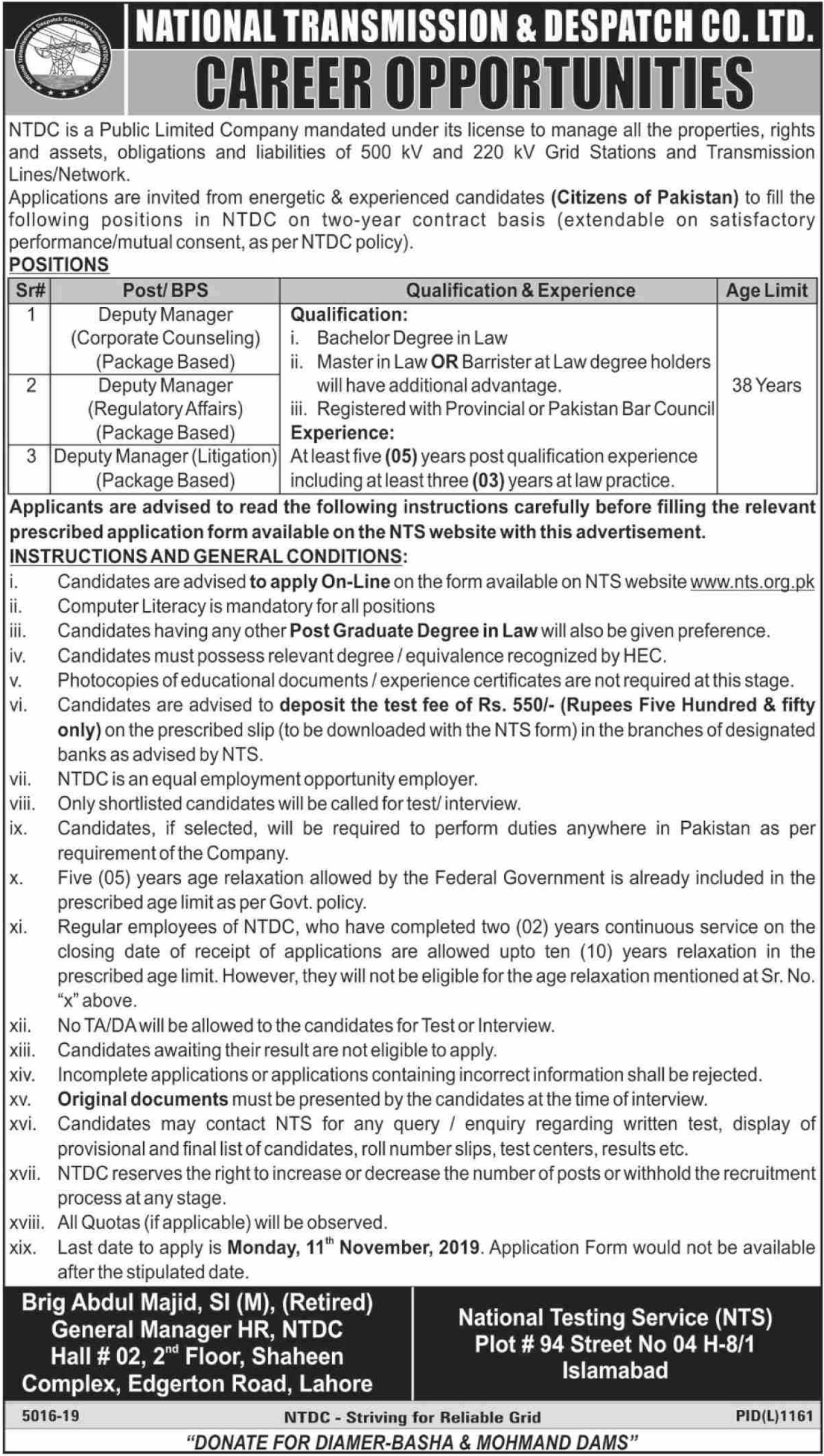 National Transmission & Despatch Company Ltd Jobs 2019 NTDC Wapda