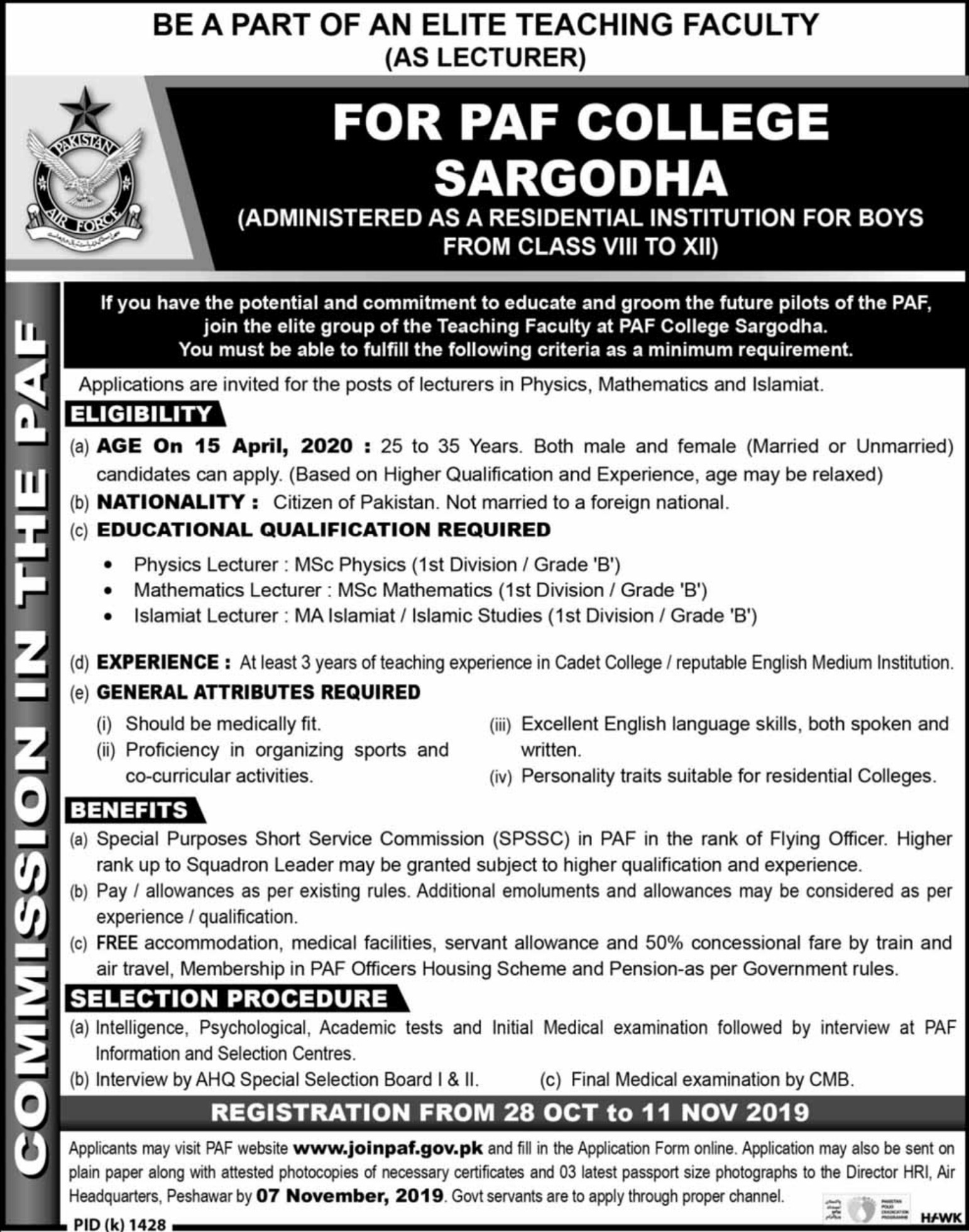 PAF College Sargodha Jobs 2019