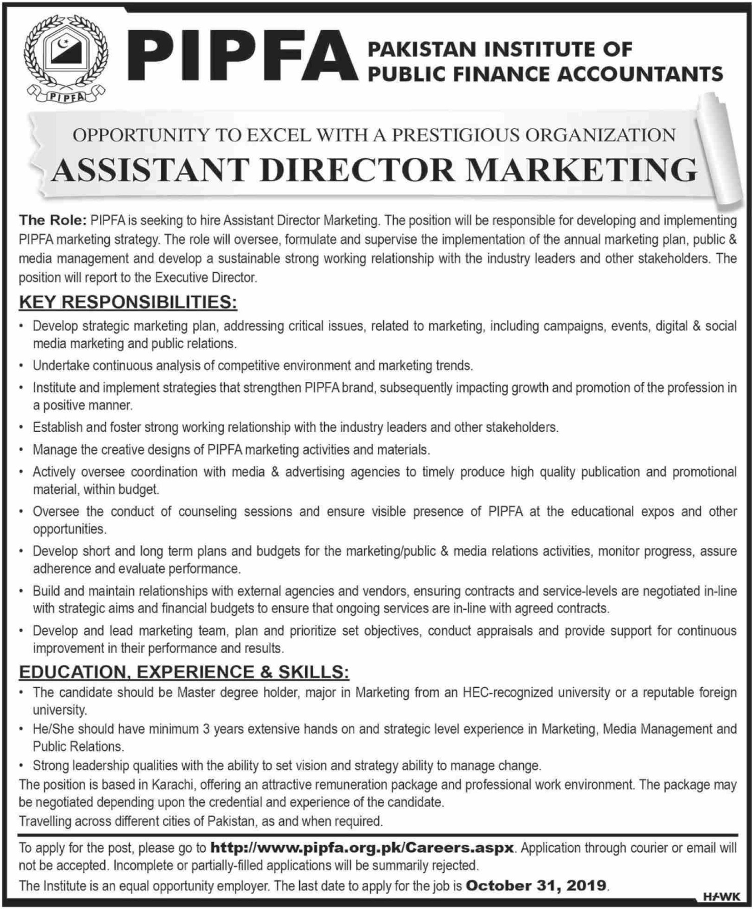 PIPFA Jobs 2019 Pakistan Institute of Public Finance Accountants