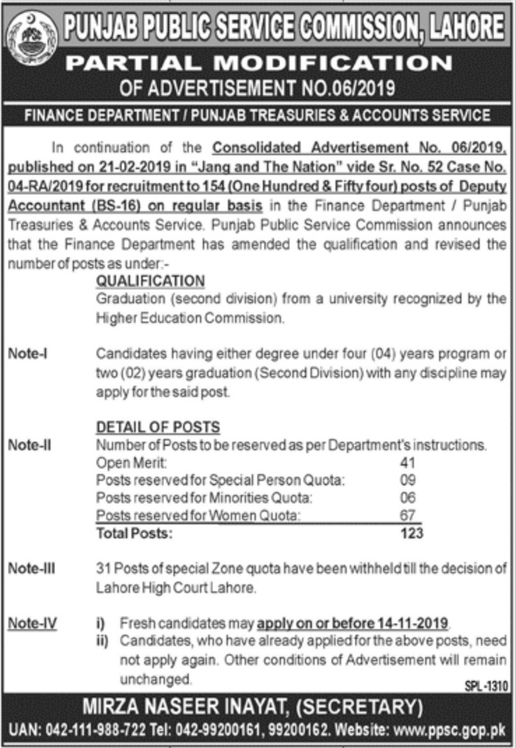 PPSC Jobs 2019 Latest 154 Posts of Deputy Accountant