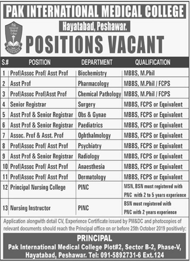 Pak International Medical College Peshawar Jobs 2019 KPK