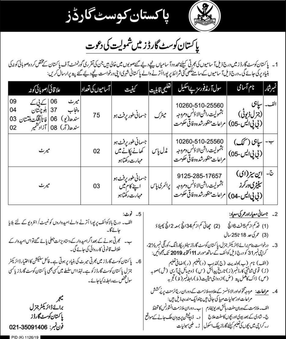 Pakistan Coast Guards Jobs 2019