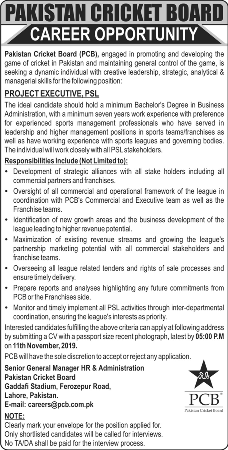 Pakistan Cricket Board PCB Jobs 2019 PSL