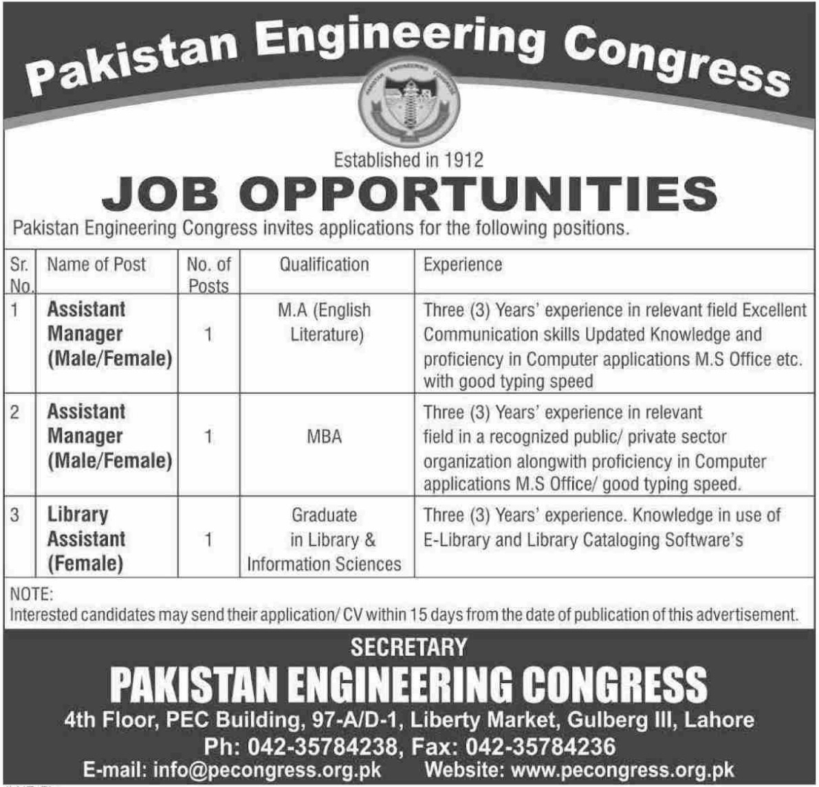 Pakistan Engineering Congress Jobs 2019