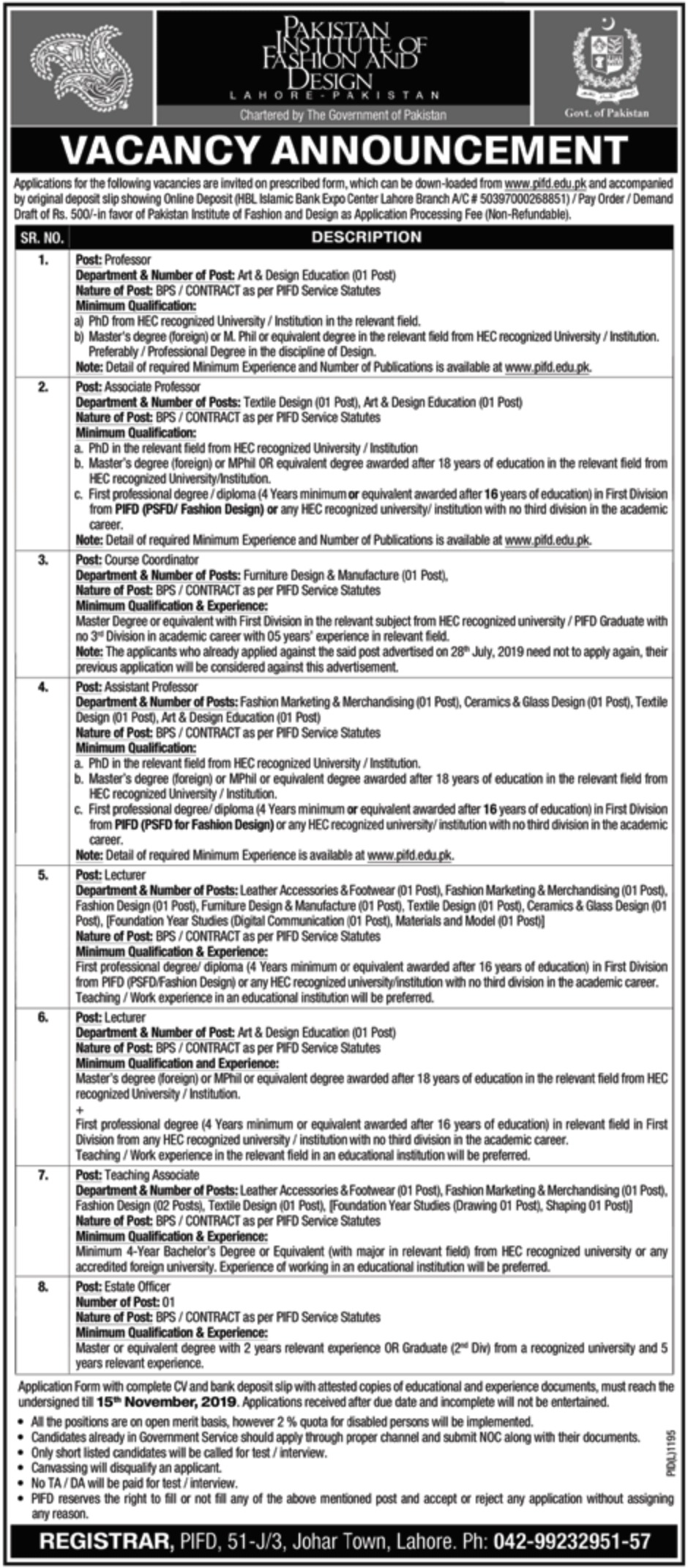 Pakistan Institute of Fashion & Design PIFD Jobs 2019