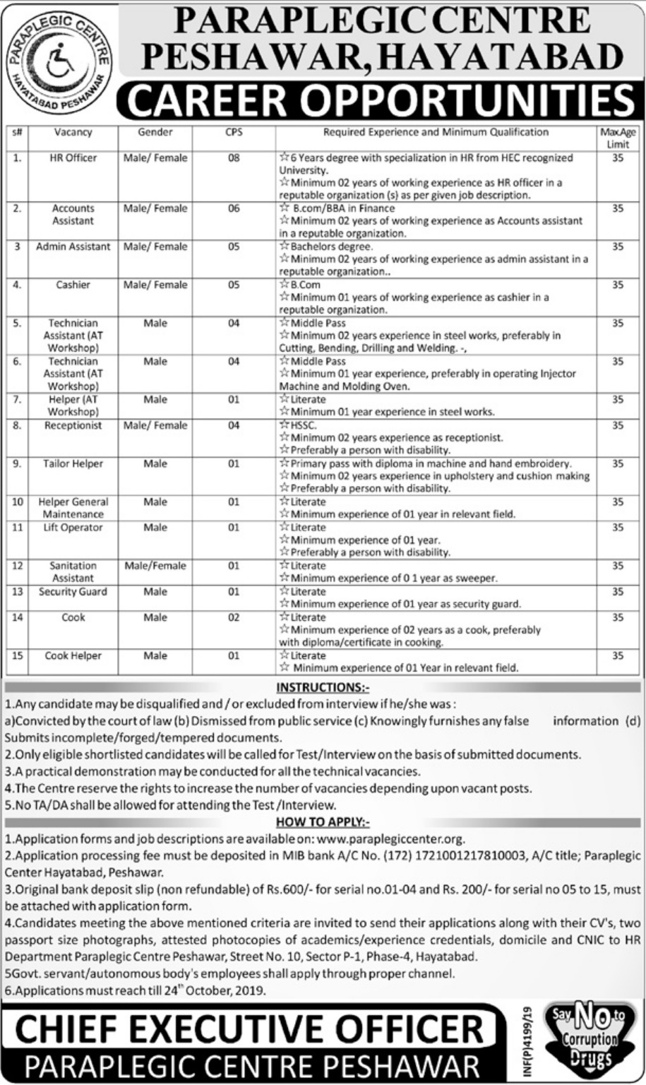 Paraplegic Centre Peshawar PCP Jobs 2019