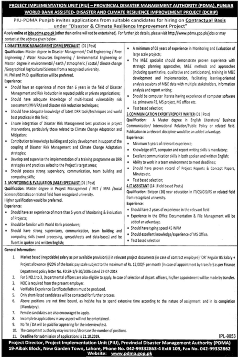 Provincial Disaster Management Authority PDMA Punjab Jobs 2019