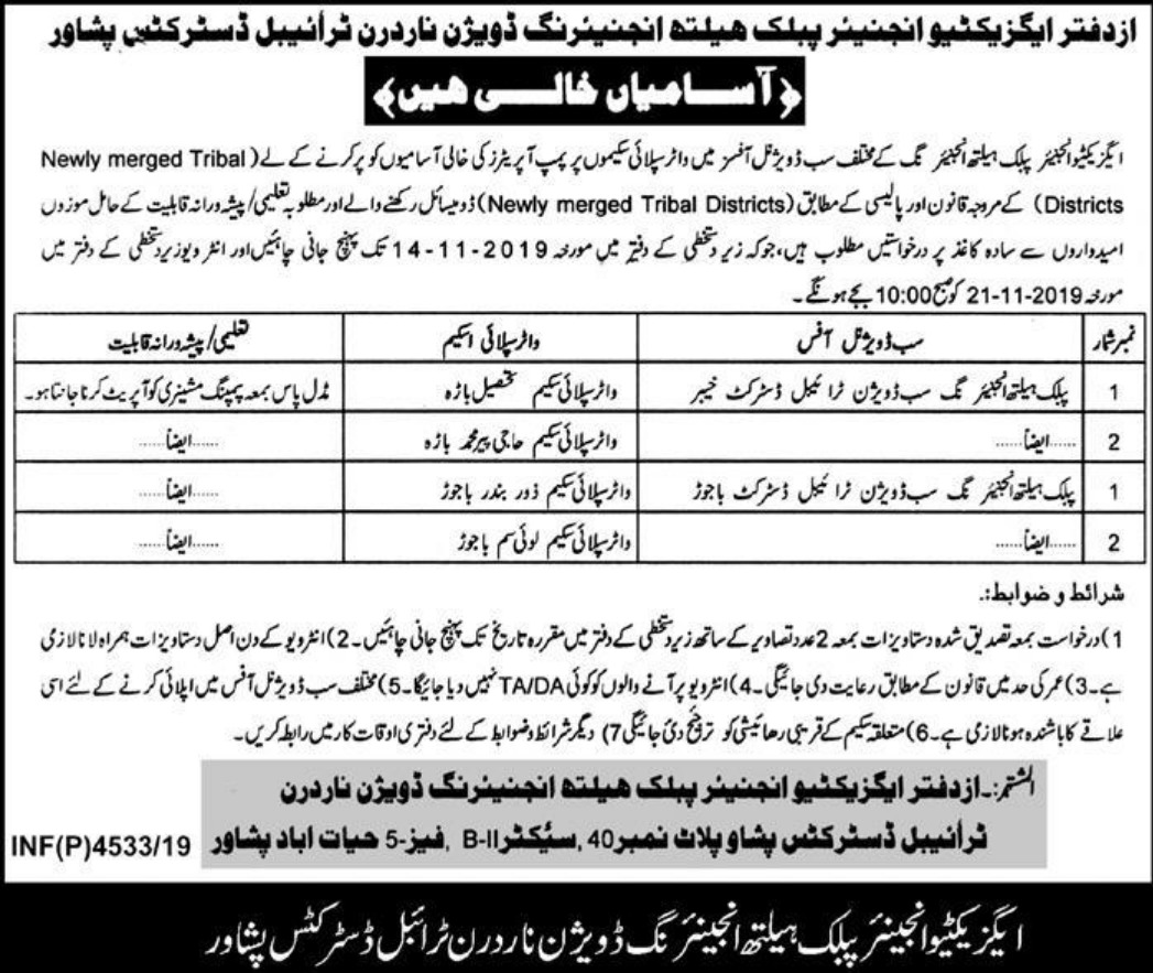 Public Health Engineering Division Peshawar Jobs 2019 KPK