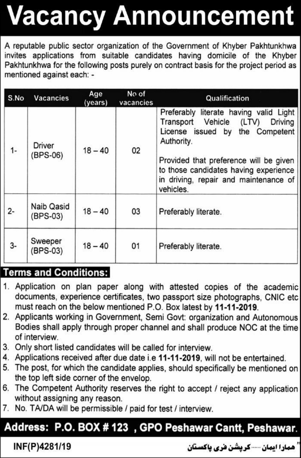 Public Sector Organization Jobs 2019 P.O.Box 123 Peshawar