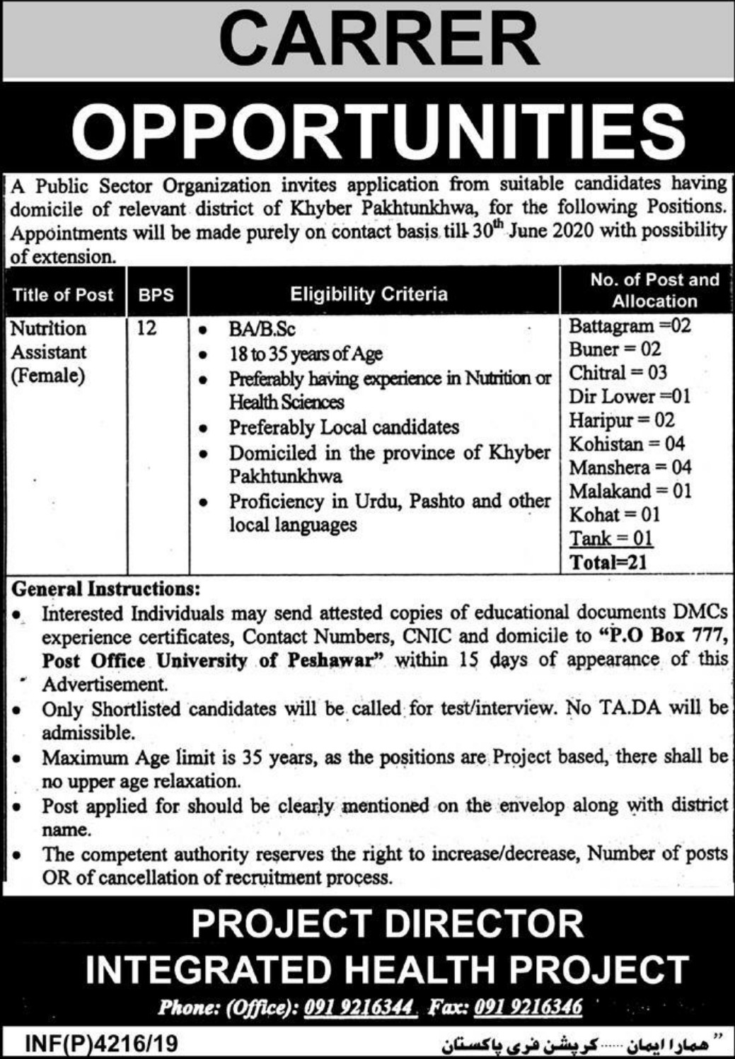 Public Sector Organization Jobs 2019 P.O.Box 777 Peshawar