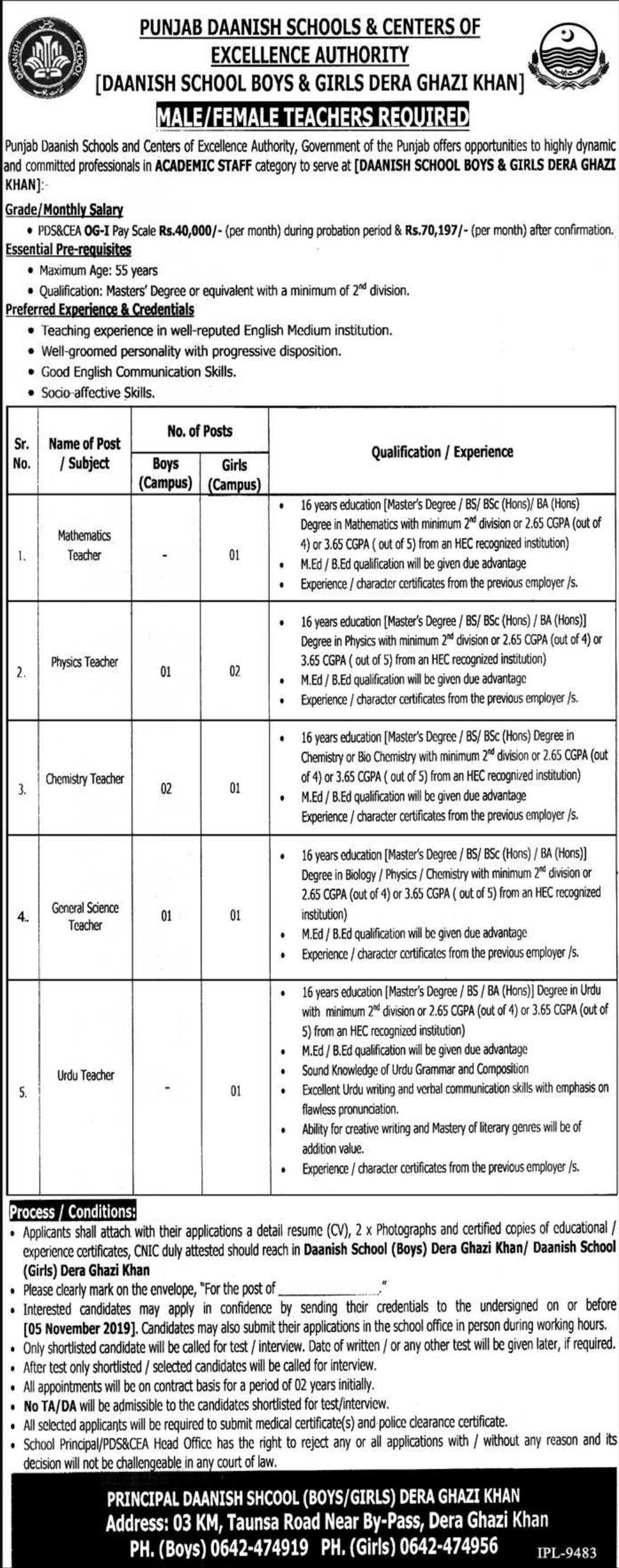 Punjab Daanish School Jobs 2019 D.G Khan