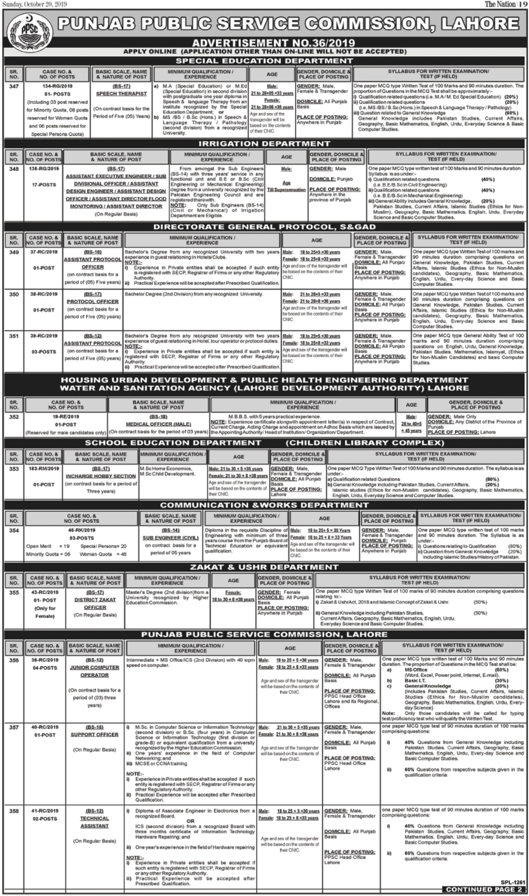 Punjab Public Service Commission PPSC Jobs 20 October 2019