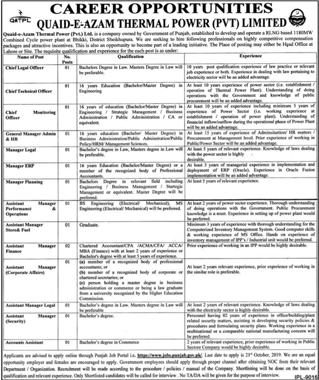 Quaid-e-Azam Thermal Power Pvt Limited Jobs 2019
