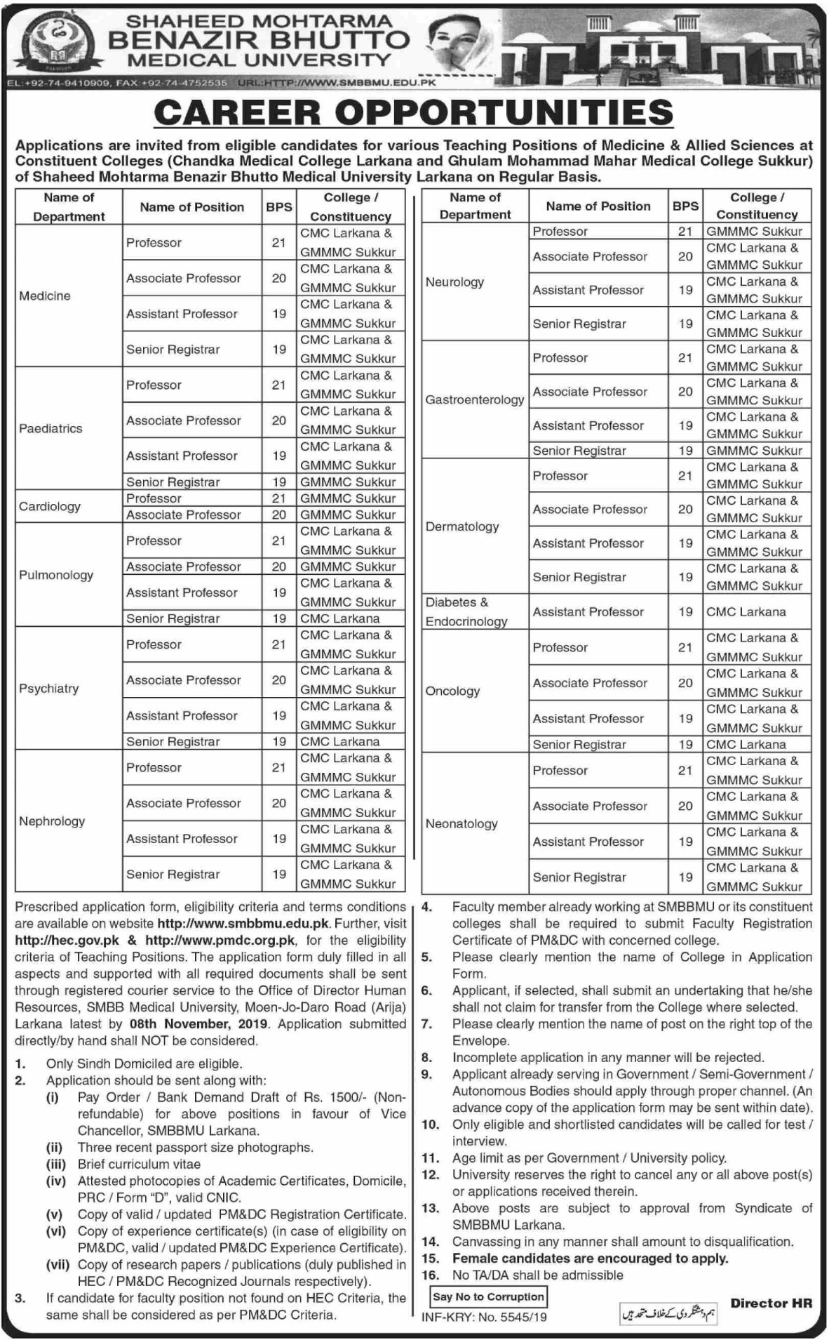 Shaheed Mohtarma Benazir Bhutto Medical University SMBBMU Jobs 2019 Larkana Sindh