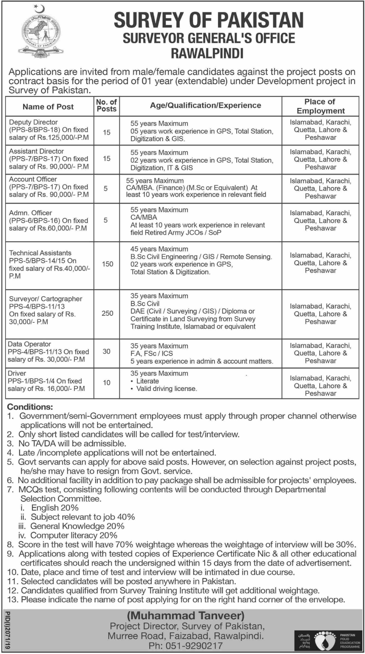 Survey of Pakistan Jobs 2019 Surveyor General Office Rawalpindi