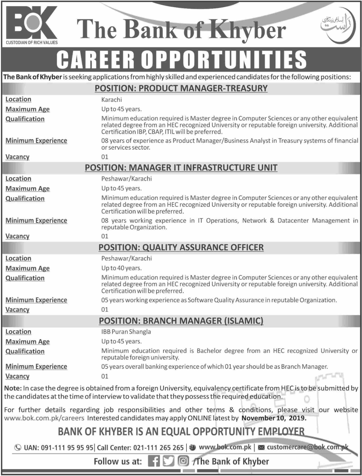 The Bank of Khyber Jobs 2019 BOK Apply Online