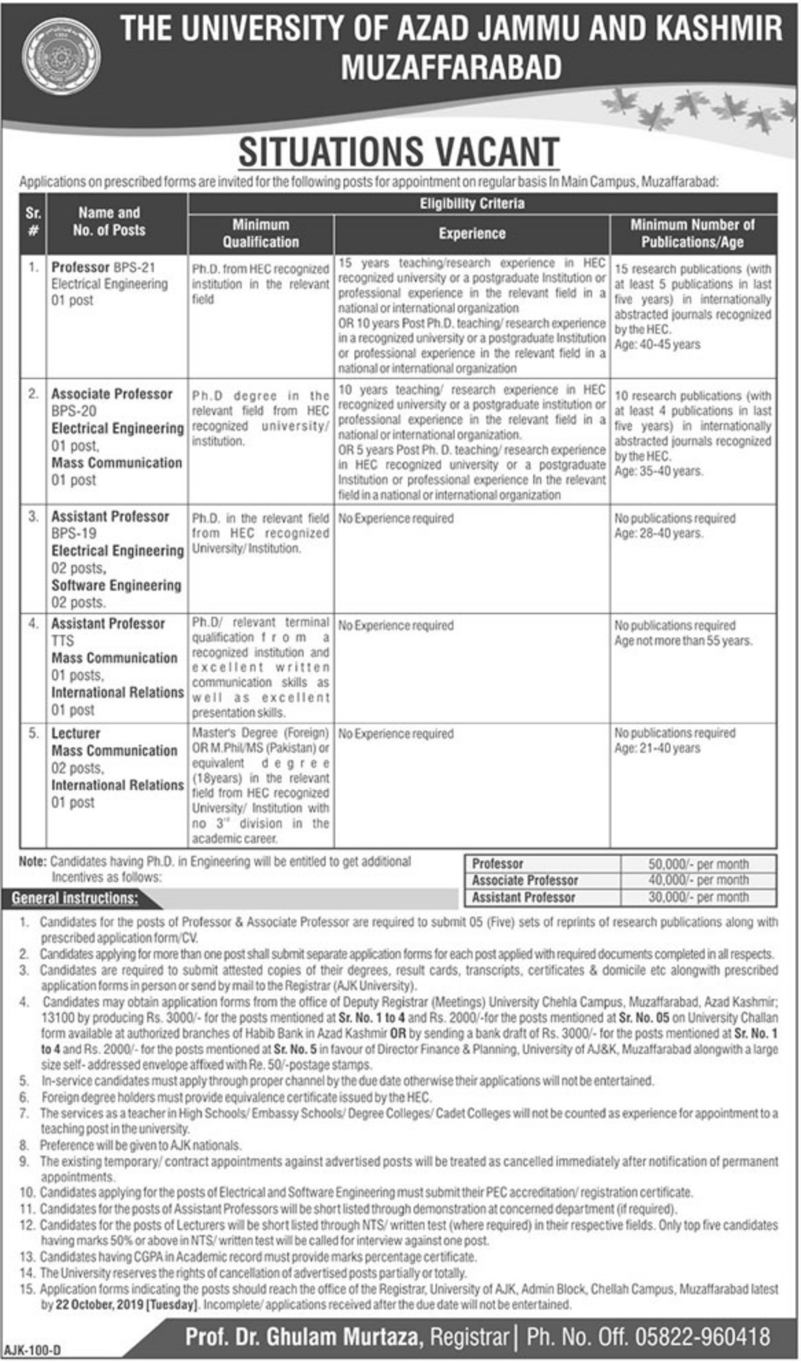 The University of Azad Jammu & Kashrmir Jobs 2019 AJK Muzaffarbad