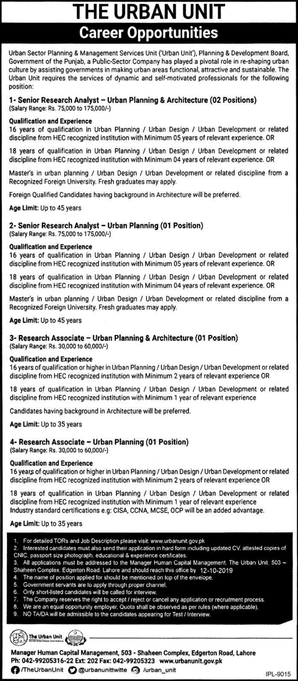 The Urban Unit Lahore Jobs 2019 Punjab