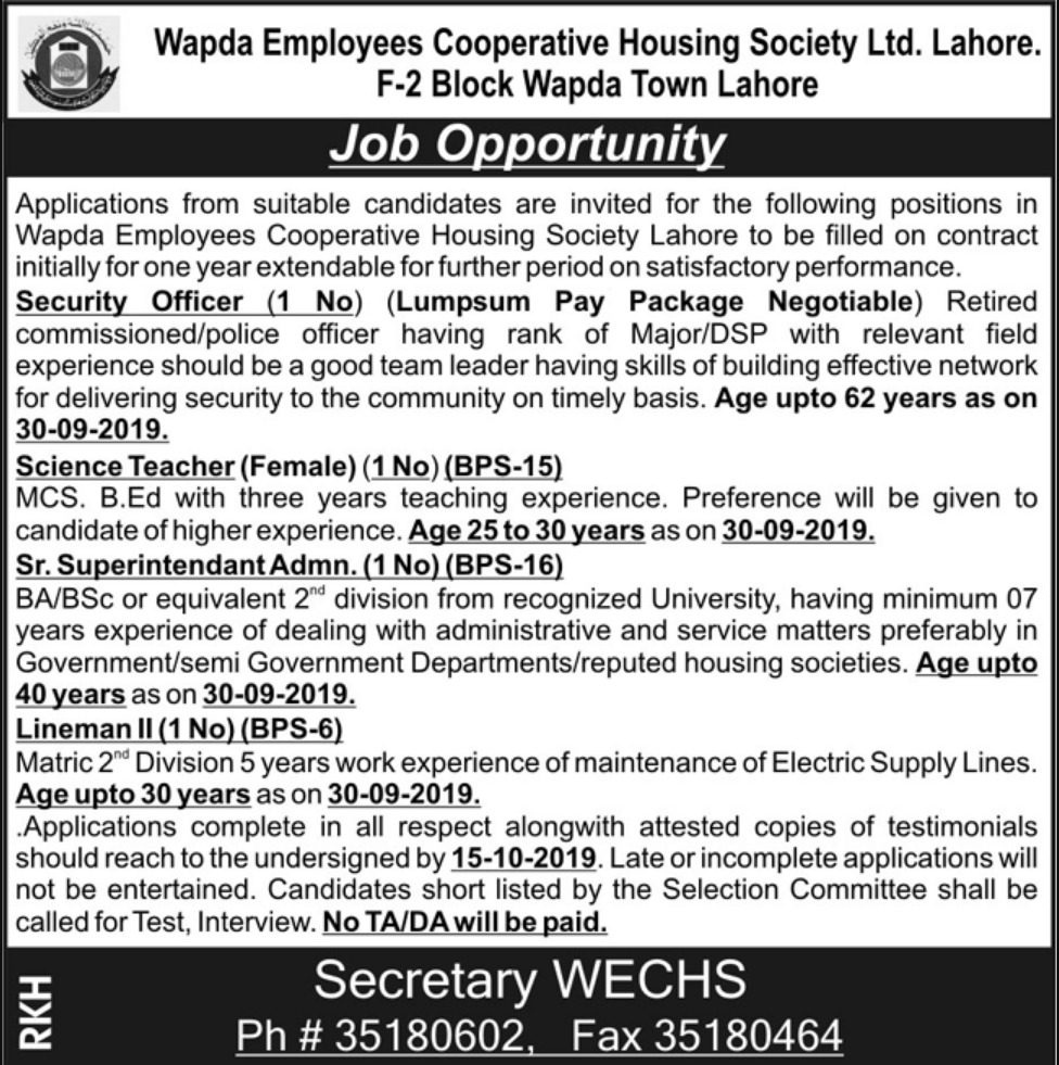 WECHS Lahore Jobs 2019 Wapda Employees Cooperative Housing Society Ltd