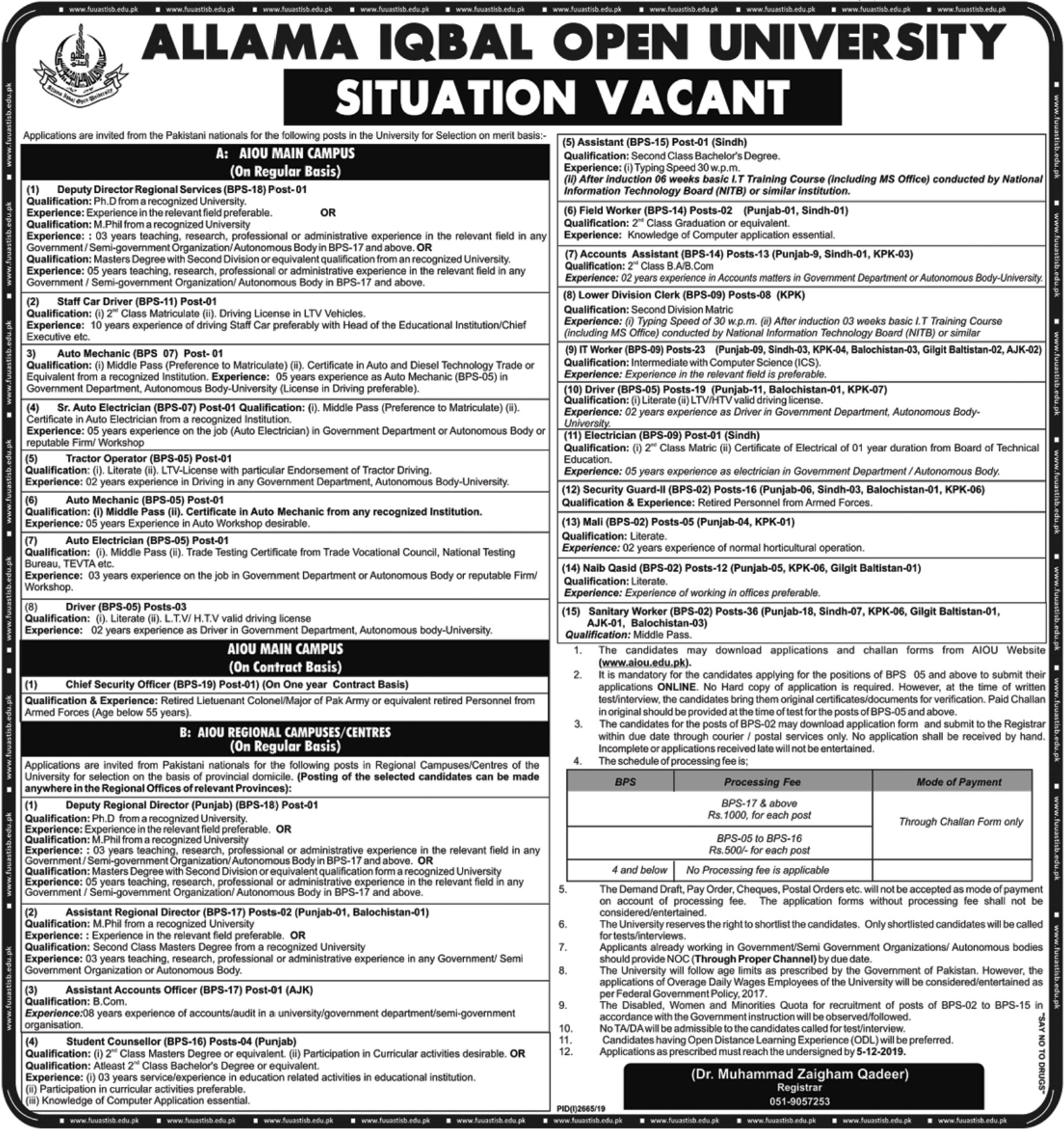 AIOU Jobs 2019 Allama Iqbal Open University