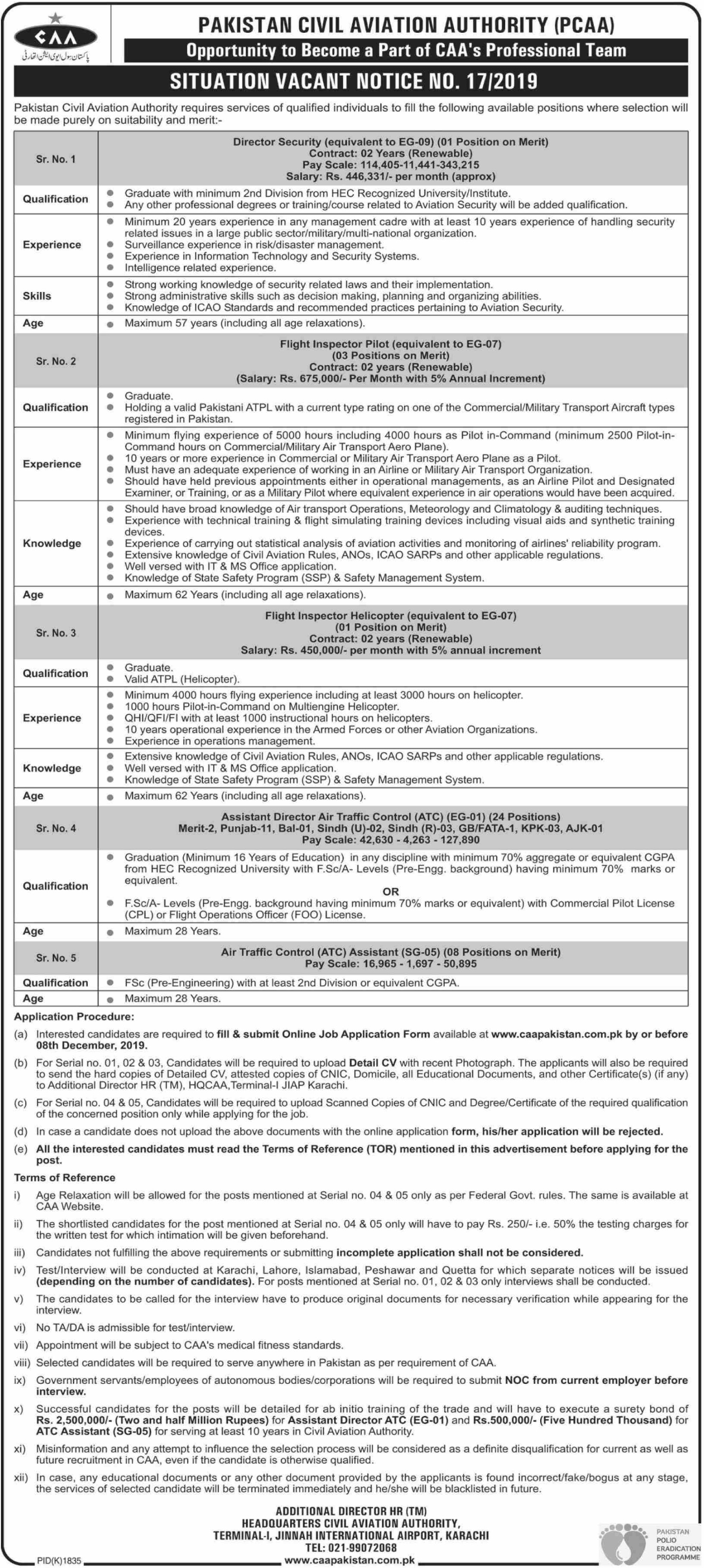 CAA Jobs 2019 Civil Aviation Authority Pakistan