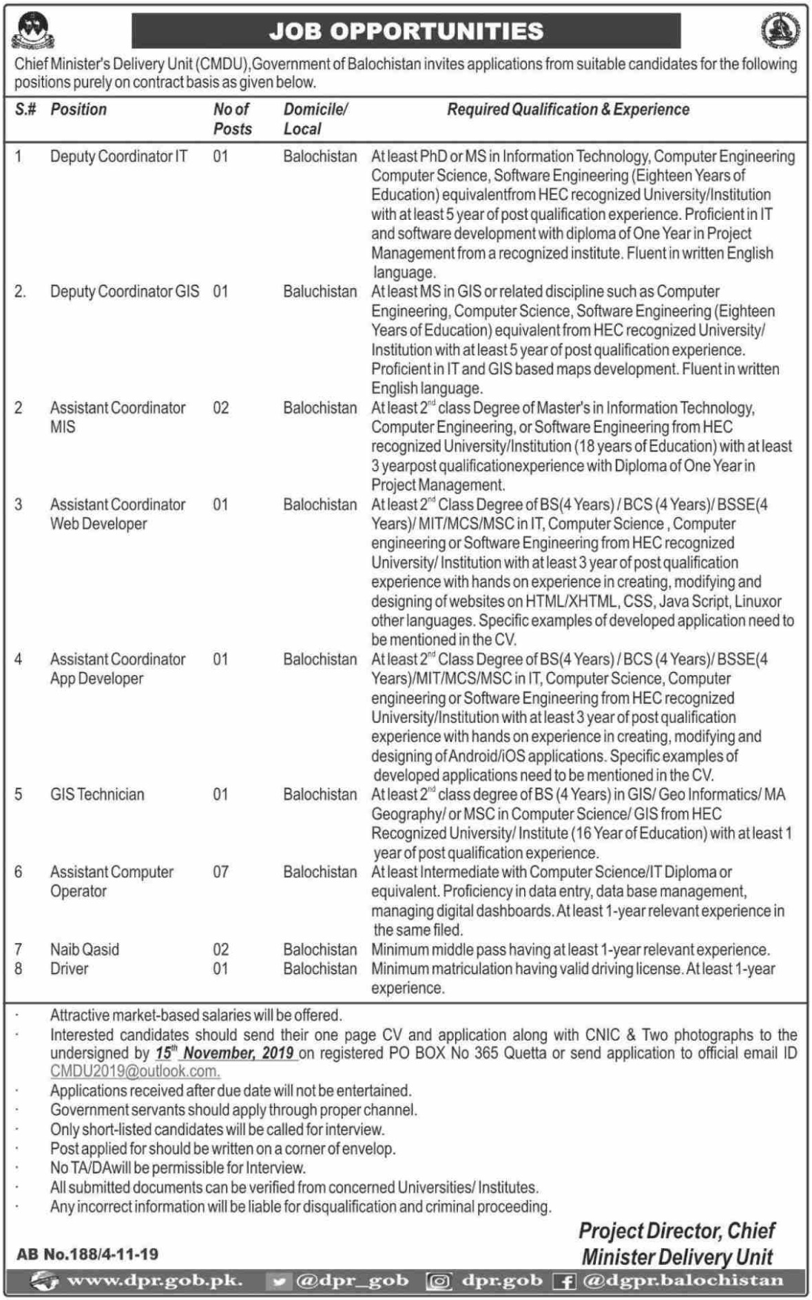 Chief Minister Delivery Unit CMDU Balochistan Jobs 2019
